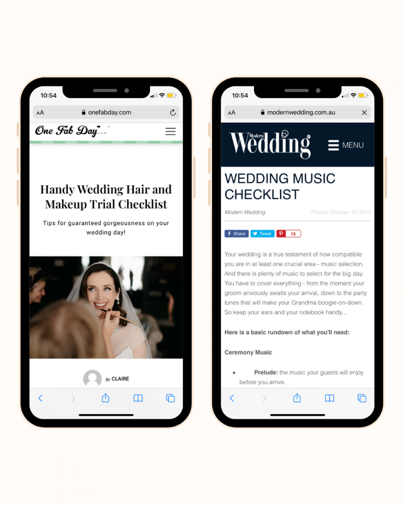 Wedding hair and makeup, music checklists