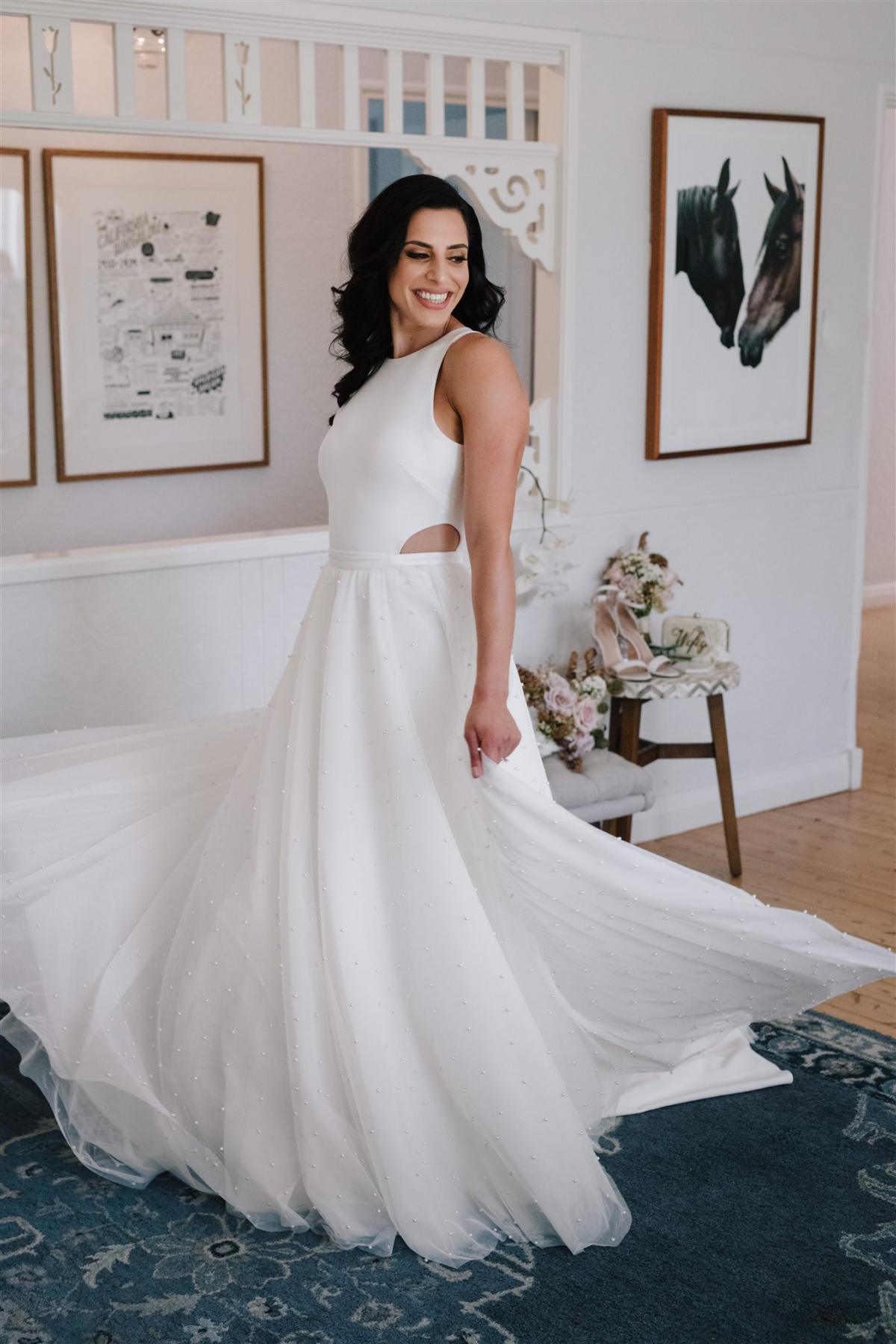 Real bride Marianne wears the Bridget gown and Lea Skirt by KAren willis Holmes
