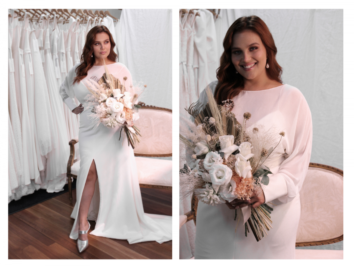 Brie plus size wedding dress by Karen Willis Holmes- travelling trunk show