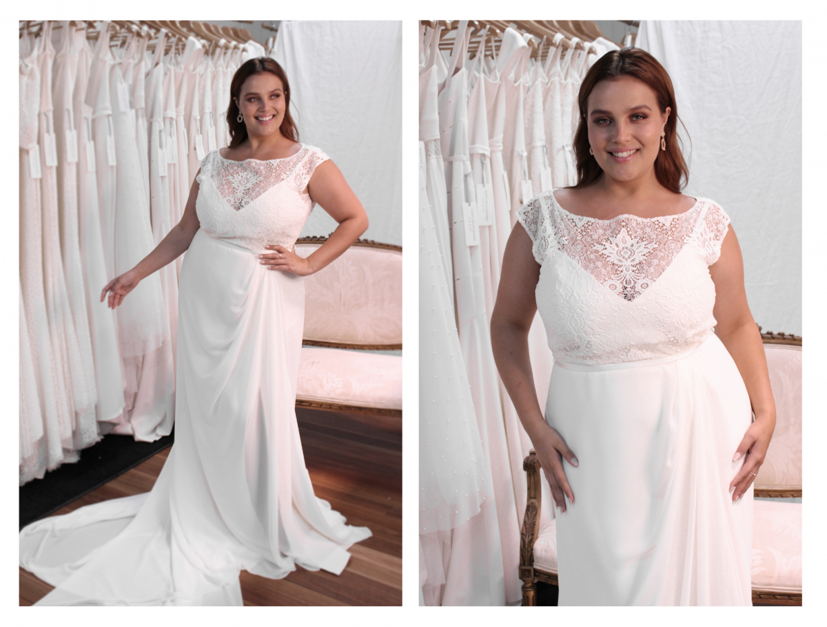 Sienna feminine wrap plus size wedding dress from Curve collection by Karen Willis Holmes