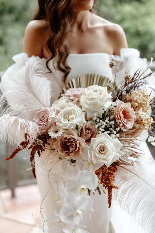 Natural toned exotic wedding bouquet for real bride Belinda.